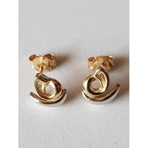 14 karaat gouden oorbellen. Oorstekers merk 585 goud