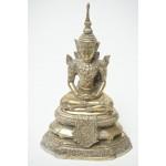 Boeddha in Lotushouding China / Tibetaans Zilver Brons