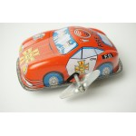 Vintage Russ Berrie Tin Litho Wind-up Toy Porsche 911 Coupe Fire Chief F.D. Car