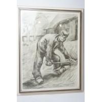 Vincent van Gogh werkende boer reproductie of kopie