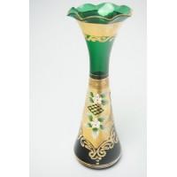 Italiaanse Venetiaanse Murano geëmailleerd groen Vaasje glas met goud en bloemen