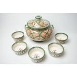 Vintage soepterrine met 5 schaaltjes aardewerk (set 3)