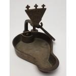 Antiek brons olie lampje of Godslampje uit 1864, E.A.St.
