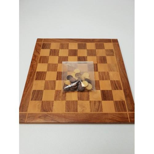Dambord en stenen hard hout