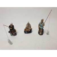 Mudman beeldjes 3 stuks met 2 hengeltjes en visjes