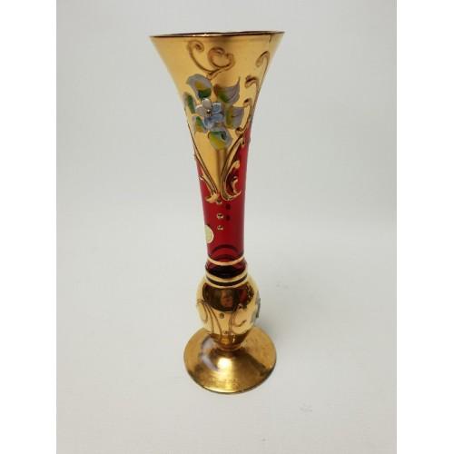 Italiaanse Venetiaanse Murano geëmailleerd rood Vaasje glas met goud en bloemen
