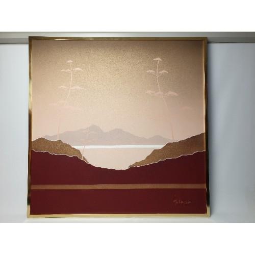 Schilderij van Leo Hortensius, Berg landschap met bomen