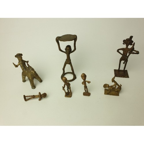 Ashanti tribal art bronze beeldjes, 7 stuks, set 4