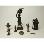 Ashanti tribal art bronze beeldjes, 8 stuks, set 1