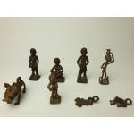 Ashanti tribal art bronze beeldjes, 8 stuks, set 2
