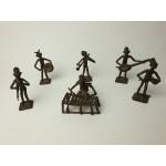 Ashanti tribal art muziek band bronze beeldjes, 6 stuks, set 5