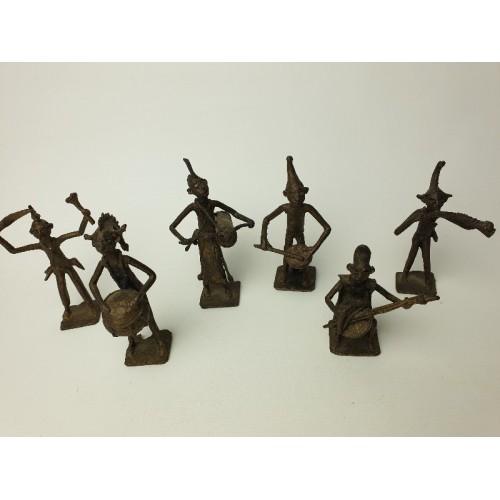Ashanti tribal art muziek band bronze beeldjes, 6 stuks, set 6