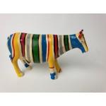 Cow Parade, leuk gestreept kleurig koe beeldje Lengte 18 cm