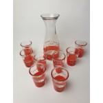 Vintage squeeze me orange juice karaf en 8 glazen, jaren 50