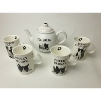 Duchess Felix Tea Time theepot en 4 mokken van katten