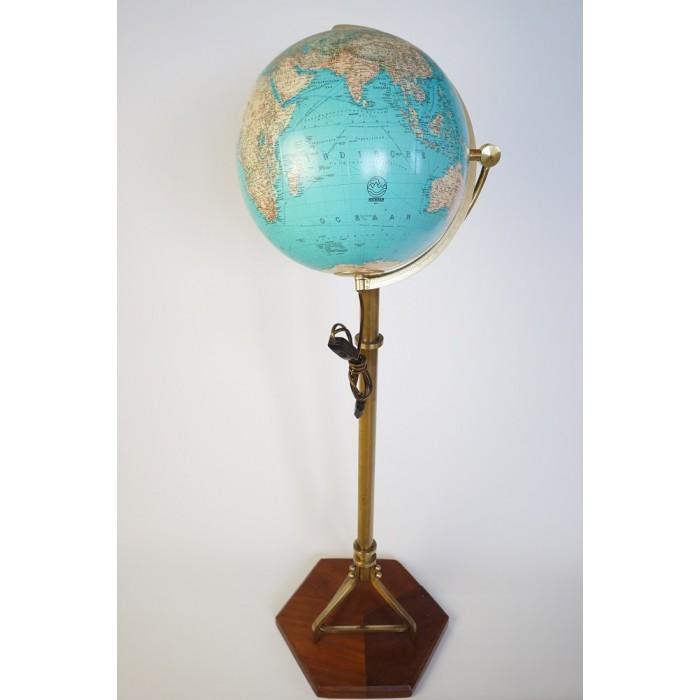 Duo verlichte Globe, Wereldbol van glas Welt im Raum, ENKEL OPHAAL