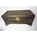 Chinees teak / kamfer houten kist met mooi houtsnijwerk