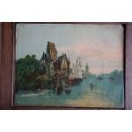 Een haven met sloepen / boten en soort kasteel en kerk op achtergrond