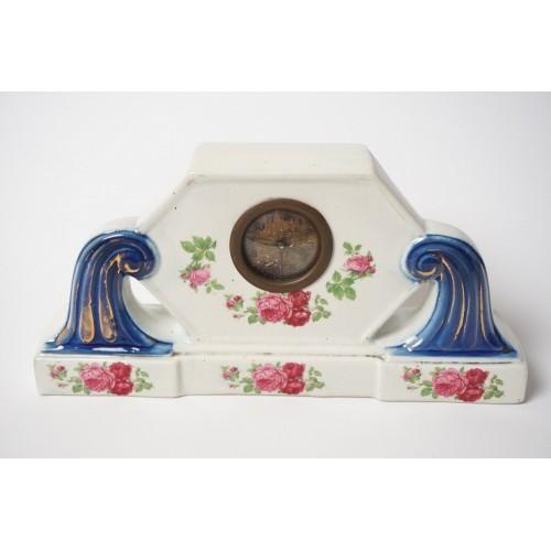 Antiek schouw klokje uit 1900 á 1930 met blauw en bloemen