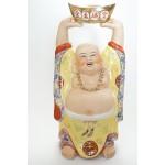 Groot porselein lachende boeddha tillend een goud ingot