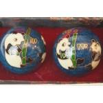 Set japanse Baoding ballen in doosje, cloissone panda afb.