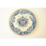 Delfts blauw wandbord 1898 je maintiendrai 1938 van Porceleyne Fles