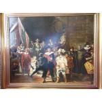 De Nachtwacht van Rembrandt van Rijn nageschilderd