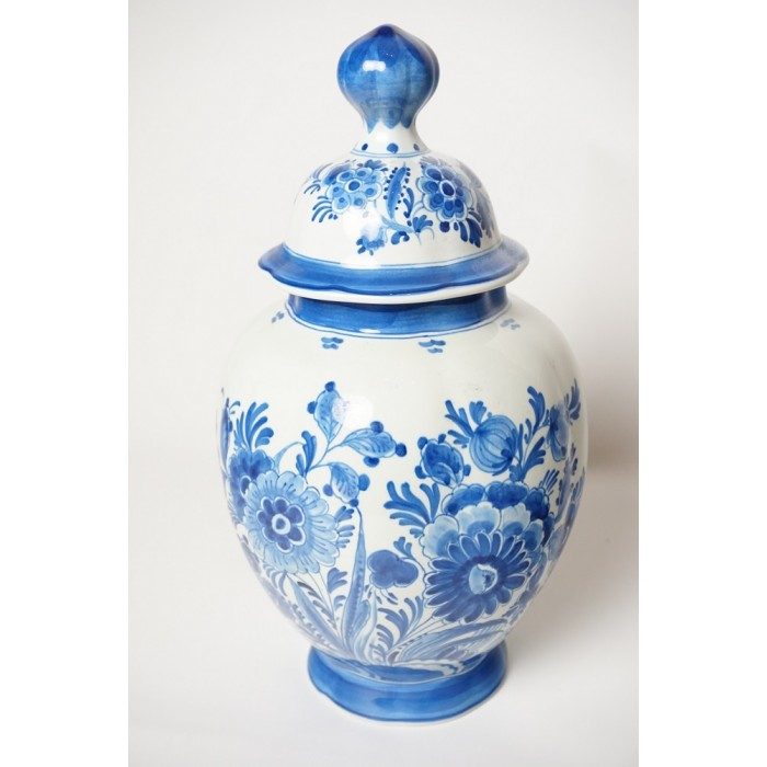 Antiek Delfts Blauw Merktekens.Delfts Blauwe Vaas Porcelyne Fles Cj 1890 Mde