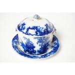 Formosa botervloot diep blauw met wit porselein