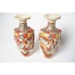 Handgeschilderde japanse aardewerk vazen stel