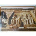 Papyrus tekening / schilderij 103 x 65 cm Abu Simbel, ENKEL OPHALEN