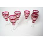 6 handgeslepen rode glazen o.a. voor wijn