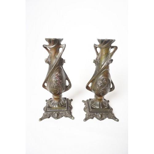 2 kandelaars van C. Bonnefond uit de 18 á 19 eeuw